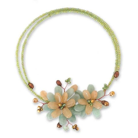Handmade Ban Chiang Bouquet Quartz and Pearl Necklace 6 mm (Thailand)