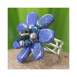 Lapis Lazuli and Pearl 'Phuket Flowers' Ring (4 mm) (Thailand)