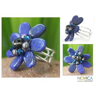 Handmade Lapis Lazuli and Pearl 'Phuket Flowers' Ring (4 mm) made in Thailand