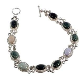 Handmade Sterling Silver 'Jocotenango Rainbow' Jade Bracelet (Guatemala)