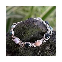 Sterling Silver 'Jocotenango Rainbow' Jade Bracelet (Guatemala)