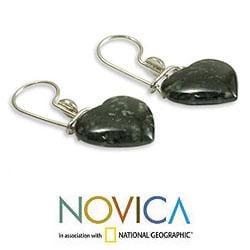 Handmade Sterling Silver 'Love Immemorial' Jade Heart Earrings (Guatemala) - Thumbnail 1