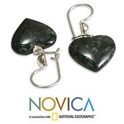 Handmade Sterling Silver 'Love Immemorial' Jade Heart Earrings (Guatemala) - Thumbnail 2