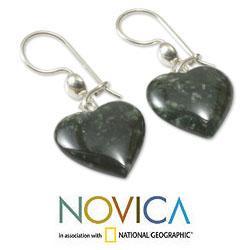 Sterling Silver 'Love Immemorial' Jade Heart Earrings (Guatemala)