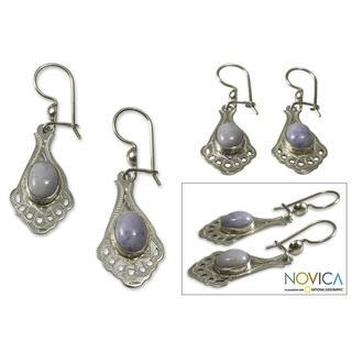 Handmade Sterling Silver 'Lilac Peacock' Jade Dangle Earrings (Guatemala)