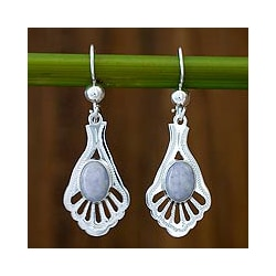 Sterling Silver 'Lilac Peacock' Jade Dangle Earrings (Guatemala)
