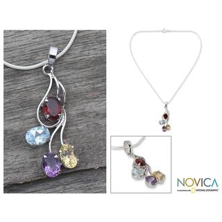 Handmade Sterling Silver 'Summer Bouquet' Multi-gemstone necklace (India)