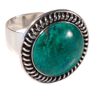 Handmade Sterling Silver 'Andean Moon' Chrysocolla Cocktail Ring (Peru)