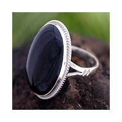 Sterling Silver 'Maya Night Sky' Jade Cocktail Ring (Guatemala)