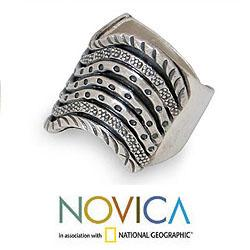 Handmade Sterling Silver 'Hmong Rivers' Ring (Thailand)
