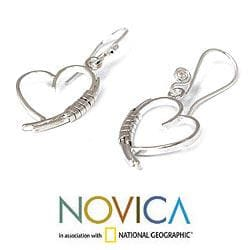 Sterling Silver 'Love Promise' Earrings (Thailand)