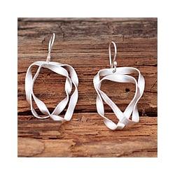 Handmade Sterling Silver 'Ribbon Wrap' Dangle Earrings (Mexico)