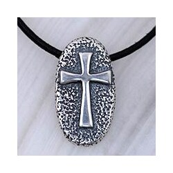 Handmade Sterling Silver Men's 'Crusader' Leather Cross Necklace (Mexico)