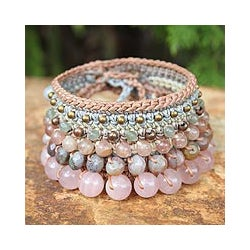 Handcrafted Multi-gemstone 'Bangkok Rose' Bracelet (Thailand)