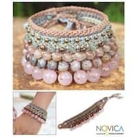 Handmade Multi-gemstone 'Bangkok Rose' Bracelet (Thailand)