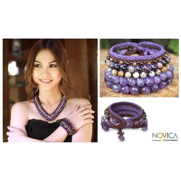 Handmade Multi-gemstone 'Bangkok Violet' Bracelet (Thailand). Opens flyout.