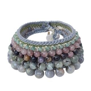 Handmade Multi-gemstone 'Bangkok Orchid' Bracelet (Thailand)