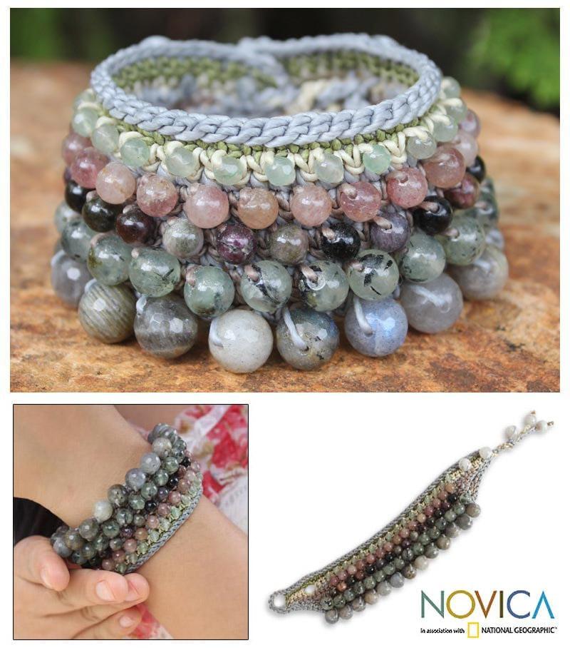 Handcrafted Multi-gemstone 'Bangkok Orchid' Bracelet (Thailand)