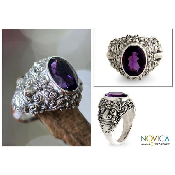 Handmade Men's Sterling Silver 'Beloved Barong' Amethyst Ring (Indonesia)