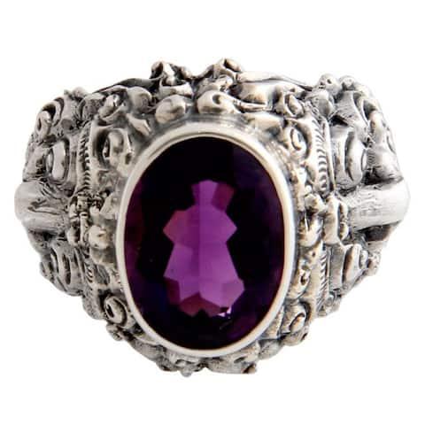 Handmade Beloved Barong Amethyst Men's Sterling Silver Ring (Indonesia)