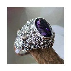Men's Sterling Silver 'Beloved Barong' Amethyst Ring (Indonesia)