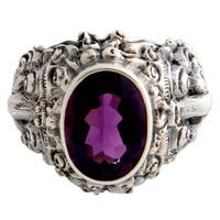 Handmade Beloved Barong Amethyst Men's Sterling Silver Ring (Indonesia)