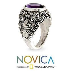 Handmade Men's Sterling Silver 'Beloved Barong' Amethyst Ring (Indonesia) - Thumbnail 1