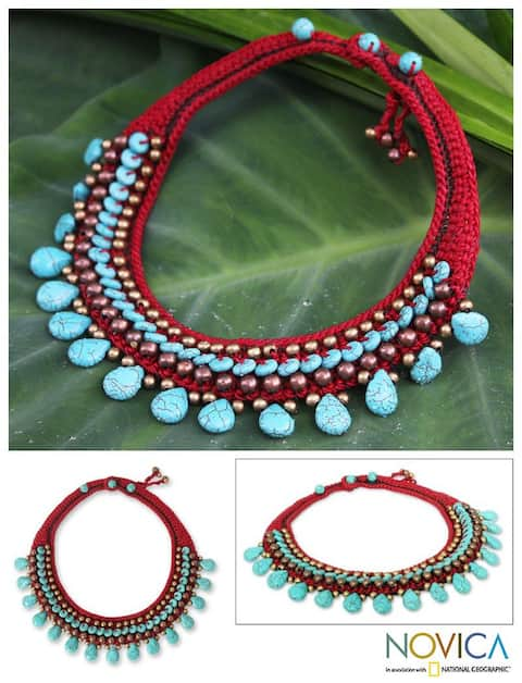 Handmade Brass 'Tribal Color' Polyester Resin Necklace (Thailand)