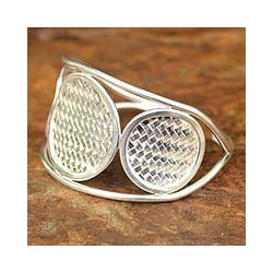 Sterling Silver 'Rattan Princess' Cuff Bracelet (Thailand)