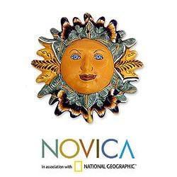 Handcrafted Ceramic 'Springtime Dahlias' Wall adornment (Mexico)