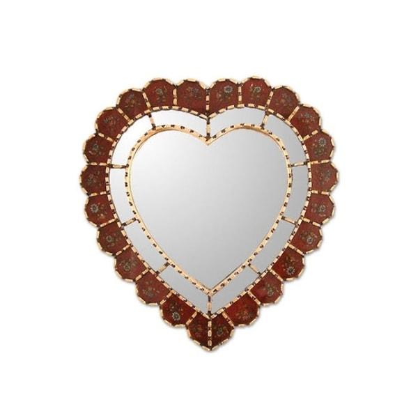 "Handmade Glass Mohena Wood Sweetheart Mirror (Peru) - Gold/Red - 15.75""x16.5"""