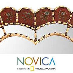 Glass Mohena Wood 'Sweetheart' Mirror (Peru)