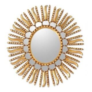 Handmade Mohena Wood Sunflower Mirror in Peru - Gold