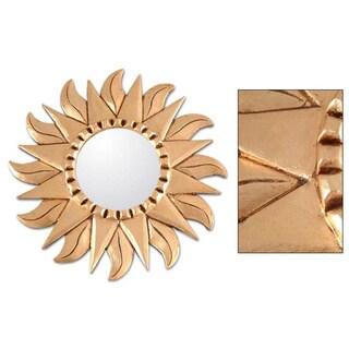 Mohena Wood 'Sunflower' Mirror  , Handmade in Peru