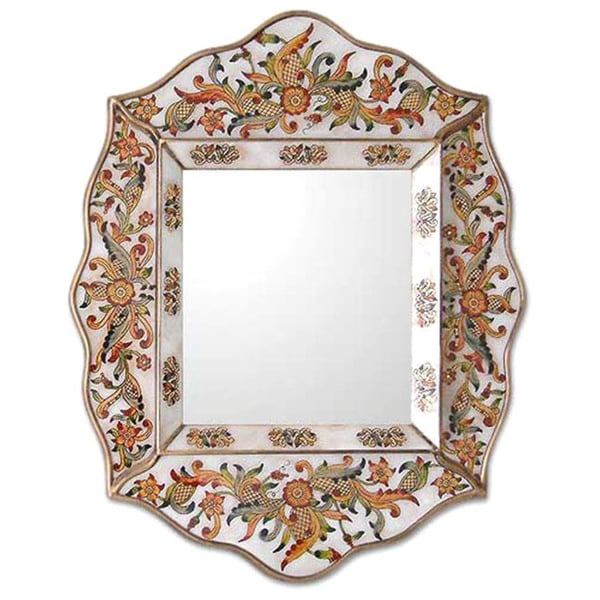 Glass Cedar Wood 'White Innocence' Mirror , Handmade in Peru