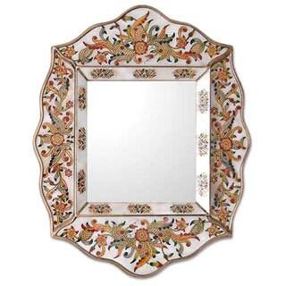 Handmade Glass Cedar Wood 'White Innocence' Mirror (Peru) - Brown