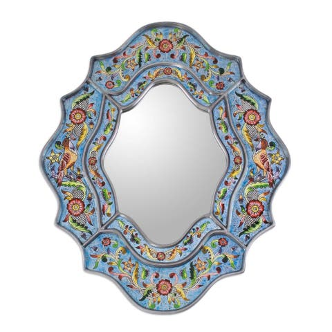 "Handmade Revers Painted Bright Blue Sky Flower Mirror (Peru) - 9.75 "" W x 13.0"" H"