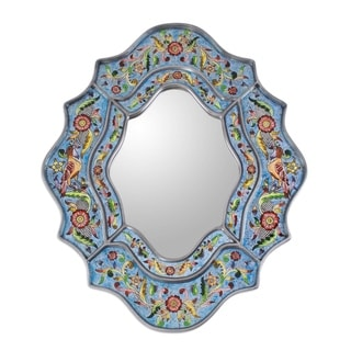 Handmade Revers Painted Bright Blue Sky Flower Mirror (Peru)