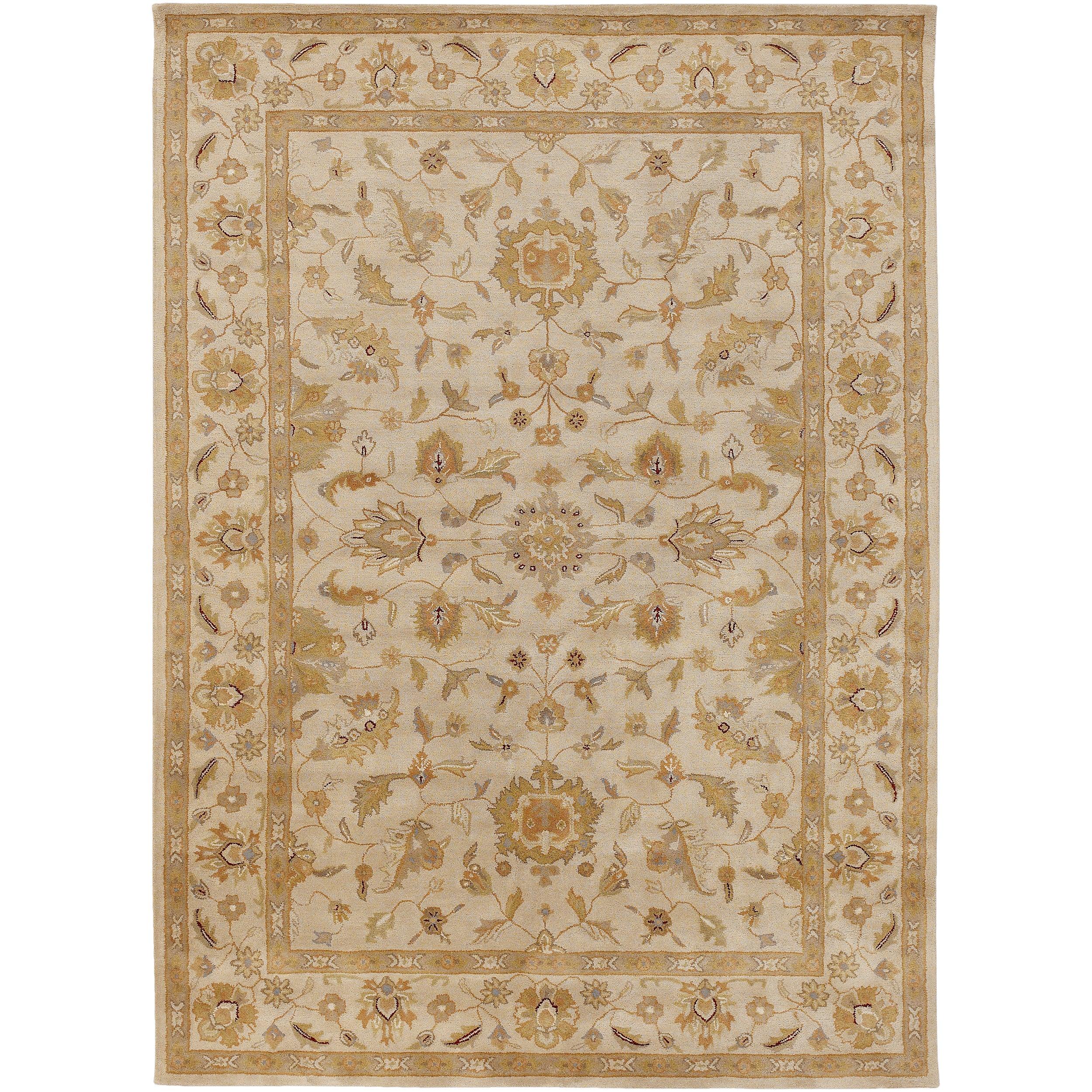 Hand-tufted Ashford Ivory Floral Border Wool Rug (12' x 15')