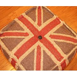 Herat Oriental Handmade Kilim Upholstered Puff Ottoman (India) - Thumbnail 1