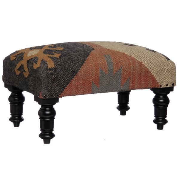 Herat Oriental Handmade Kilim Rectangular Footstool (India)