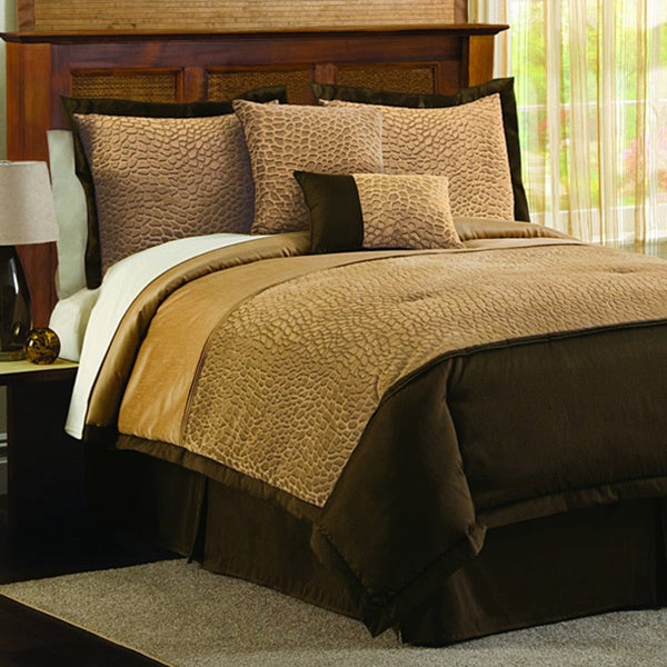 Lush Decor Taupe 4-Piece Animal Plush Comforter Set