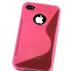 INSTEN AccStation Clear Hot Pink S-shape TPU Skin Case Cover for Apple iPhone 4