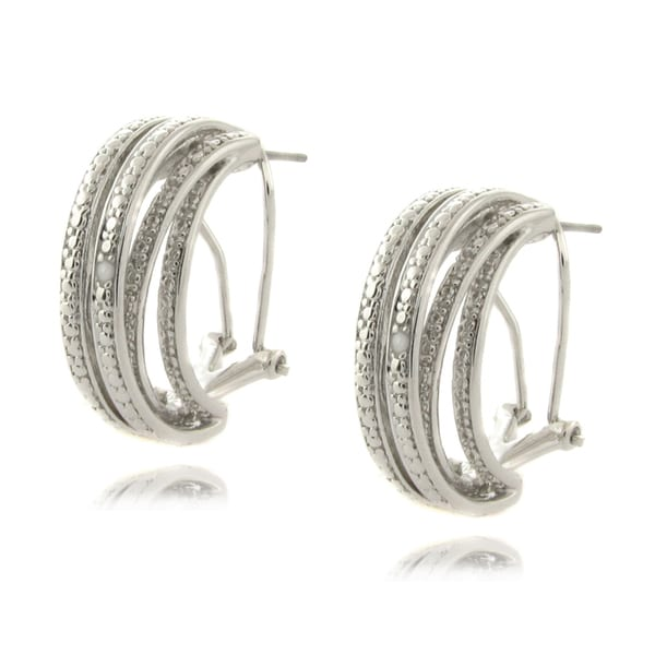 Finesque Silver Overlay Diamond Accent Multi-band Earrings