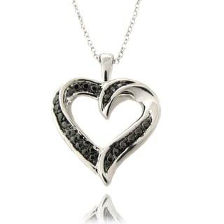 Finesque Silverplated Black Diamond Accent Heart Necklace