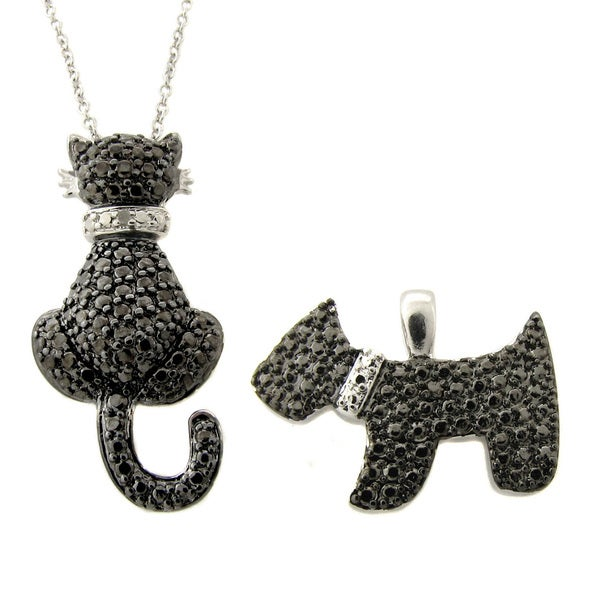 Finesque Silverplated Black Diamond Accent Cat and Dog Necklace