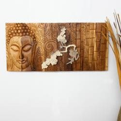 Golden Oak Oil Rubbed Wood 'Silent Buddha in Bamboo Flower' Carved Panel  , Handmade in T