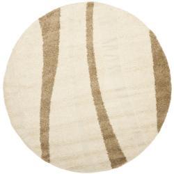 Safavieh Willow Contemporary Cream/ Brown Shag Rug (6'7 Round)