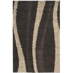Safavieh Ultimate Cream/ Dark Brown Shag Polypropylene Rug (3'3 x 5'3)