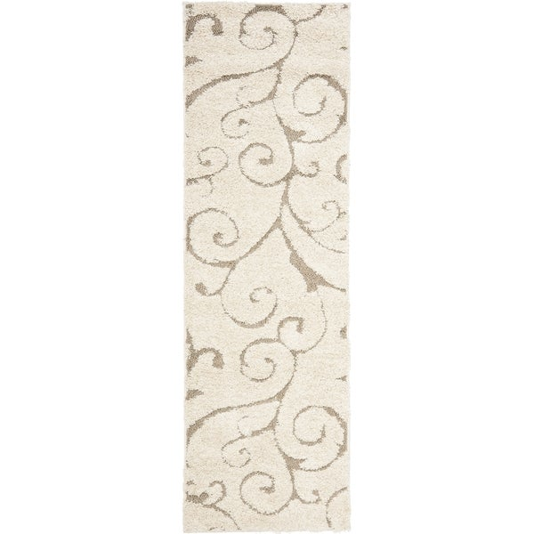 Safavieh Florida Shag Scrollwork Cream/ Beige Runner (2'3 x 7')